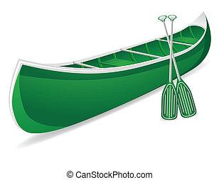 vettore, isolato, illustrazione, canoa
