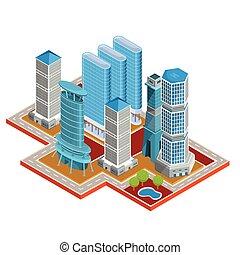 vettore, isometrico, 3d, illustrazioni, di, moderno, urbano,...