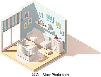 vettore, isometrico, basso, poly, bambino, stanza, icona