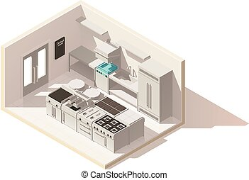 vettore, isometrico, basso, poly, professionale, cucina