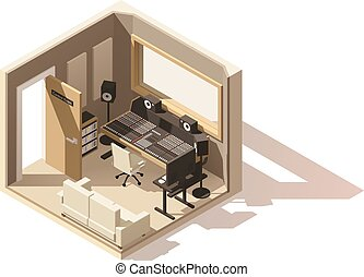 vettore, isometrico, basso, poly, studio registrazione,...