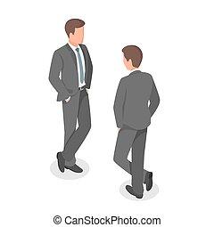 vettore, isometrico, businessman., illustrazione