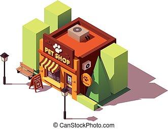 vettore, isometrico, coccolare, negozio