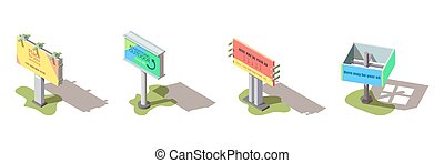 vettore, isometrico, esterno, tabelloni, pubblicità