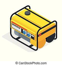 vettore, isometrico, industriale, elettrico, generatore, generator., benzina, giallo, potere, immobile, esterno, illustrazione, diesel, casa
