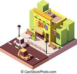 vettore, isometrico, negozio giocattolo
