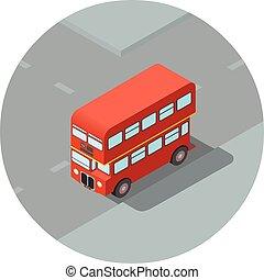 vettore, isometrico, rosso, double-decker, illustrazione