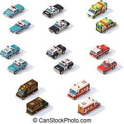 vettore, isometrico, servizi emergenza, automobili, set