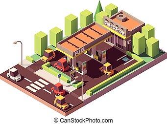 vettore, isometrico, stazione, gas