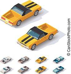 vettore, isometrico, utilità, coupe, automobile