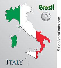 vettore, italia, mappa, scheda, carta