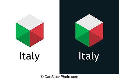 vettore, italiano, bianco, nero, bandiera, icona