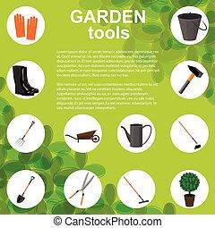 vettore, items., set, giardinaggio, vario