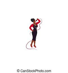 vettore, jazz, donna femmina, canto, giovane, illustrazione, nero