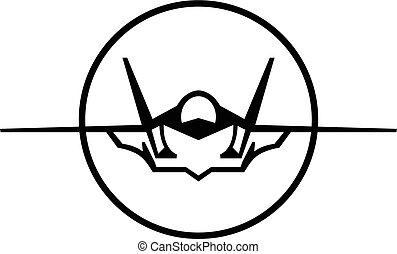 vettore, jet combattente, icona