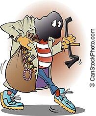 vettore, ladro, illustrazione