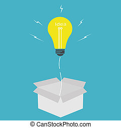 vettore, lampadina, idea, esterno, scatola, concetto