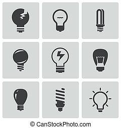 vettore, lampadine, set, nero, icone