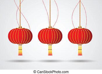 vettore, lanterna cinese