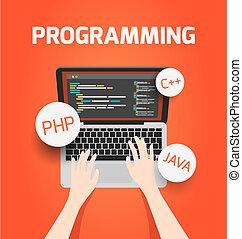 vettore, laptop, concetto, programmazione, illustration.