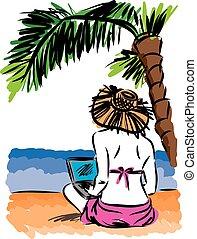 vettore, laptop, donna, spiaggia, illustrazione