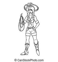 vettore, lasso., backg bianco, illustration., isolato, cowgirl