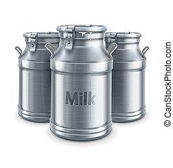 vettore, latte, isolato, contenitori, lattina