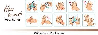 vettore, lavare, hands., medico, pulizia, icone, tuo, ...