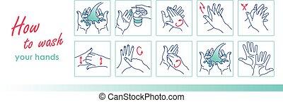 vettore, lavare, hands., pulizia, tuo, istruzione, ...