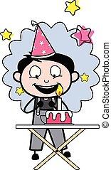 vettore, lavoratore, -, illustrazione, festeggiare, compleanno, retro, festa, riparatore, cartone animato