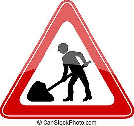 vettore, lavori in corso, segno strada