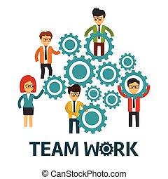 vettore, lavoro squadra, illustrazione