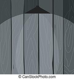 vettore, legno, lampada, recinto, illustrazione