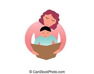 vettore, lei, -, illustrazione, stilizzato, libro, mamma, bambino, geometrico, lettura