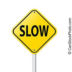 vettore, lento, segno, strada, etichetta, giallo, illustrazione