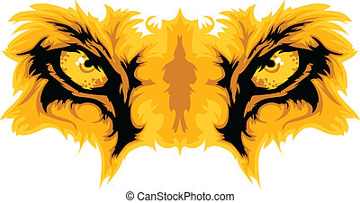 vettore, leone, occhi, mascotte, grafico