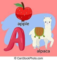 vettore, lettera, graphics., bambini, alphabet., s