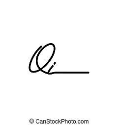 vettore, lettera, qi, firma, logotipo, sagoma
