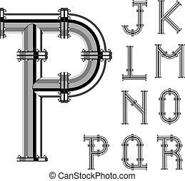 vettore, lettere, cromo, alfabeto, tubo, parte, 2