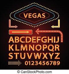 vettore, lettere, mostra, luce, segno neon, font, lampada, vegas, arancia, theather