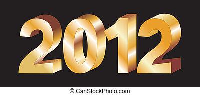 vettore, lettere, oro, 2012