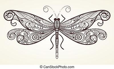 vettore, libellula, con, unico, modello