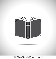 vettore, libro aperto, icona
