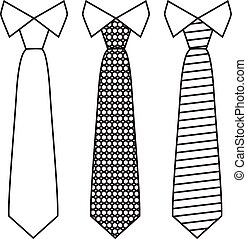 vettore, linea, style., cravatte, set, trendy, collo