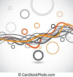 vettore, linee, e, cerchi, astratto, fondo