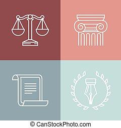 vettore, logos, giuridico, set, legale