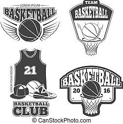 vettore, logos, pallacanestro, vendemmia, etichette, set, tesserati magnetici, emblemi