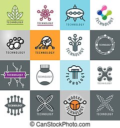 vettore, logos, set, tecnologia, grande