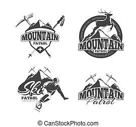 vettore, logos, set, tesserati magnetici, sci, montagna, etichette, pattuglia, vendemmia, emblemi