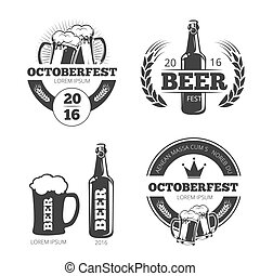 vettore, logos, tesserati magnetici, vendemmia, etichette, birra, set, emblemi, fabbrica birra